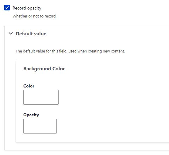 default values for the color field.